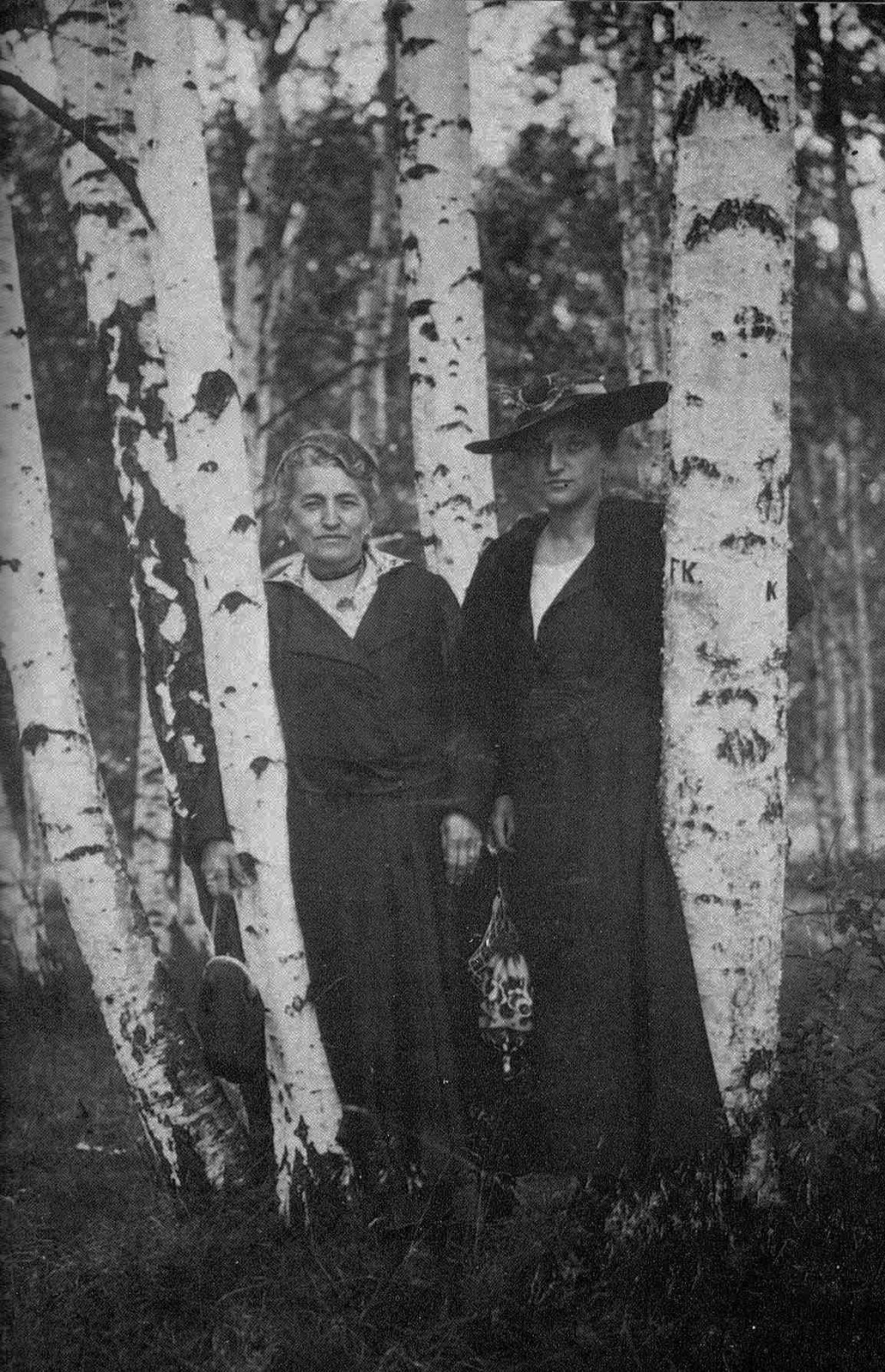 The photo is of Kafka's mother and sister, amid birch trees, Villi, 1916.jpg